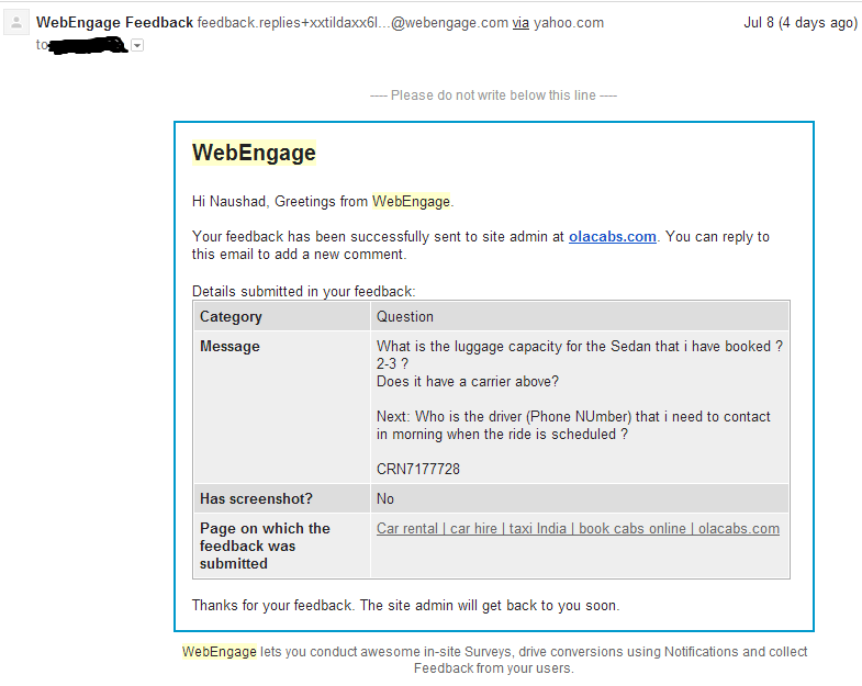 OlaCabs WebEngage Reply