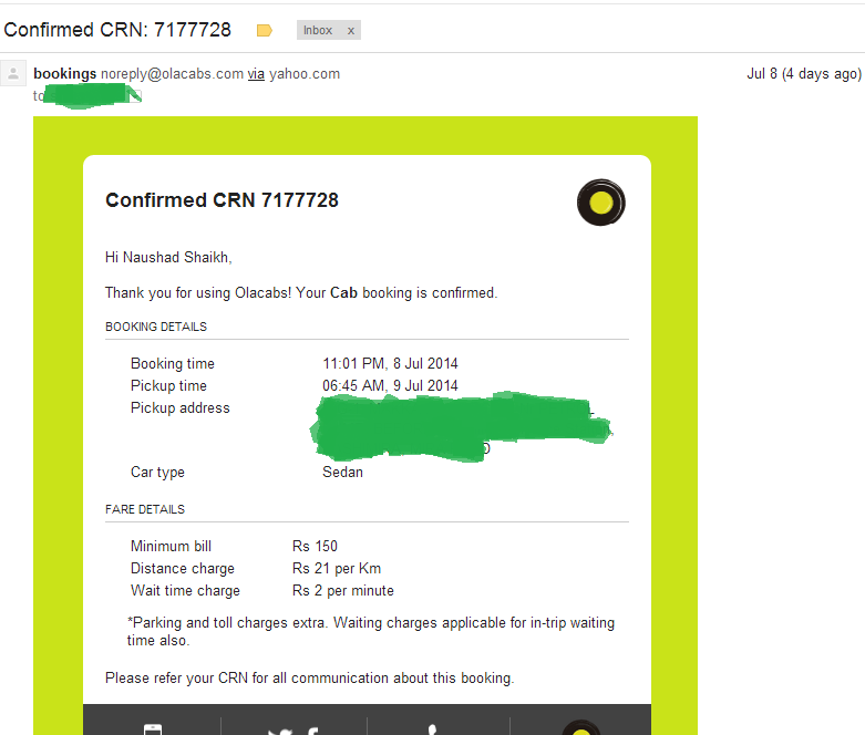 Ola Cabs Booking Confirmation