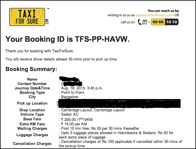 taxiforsure Booking Confirmation
